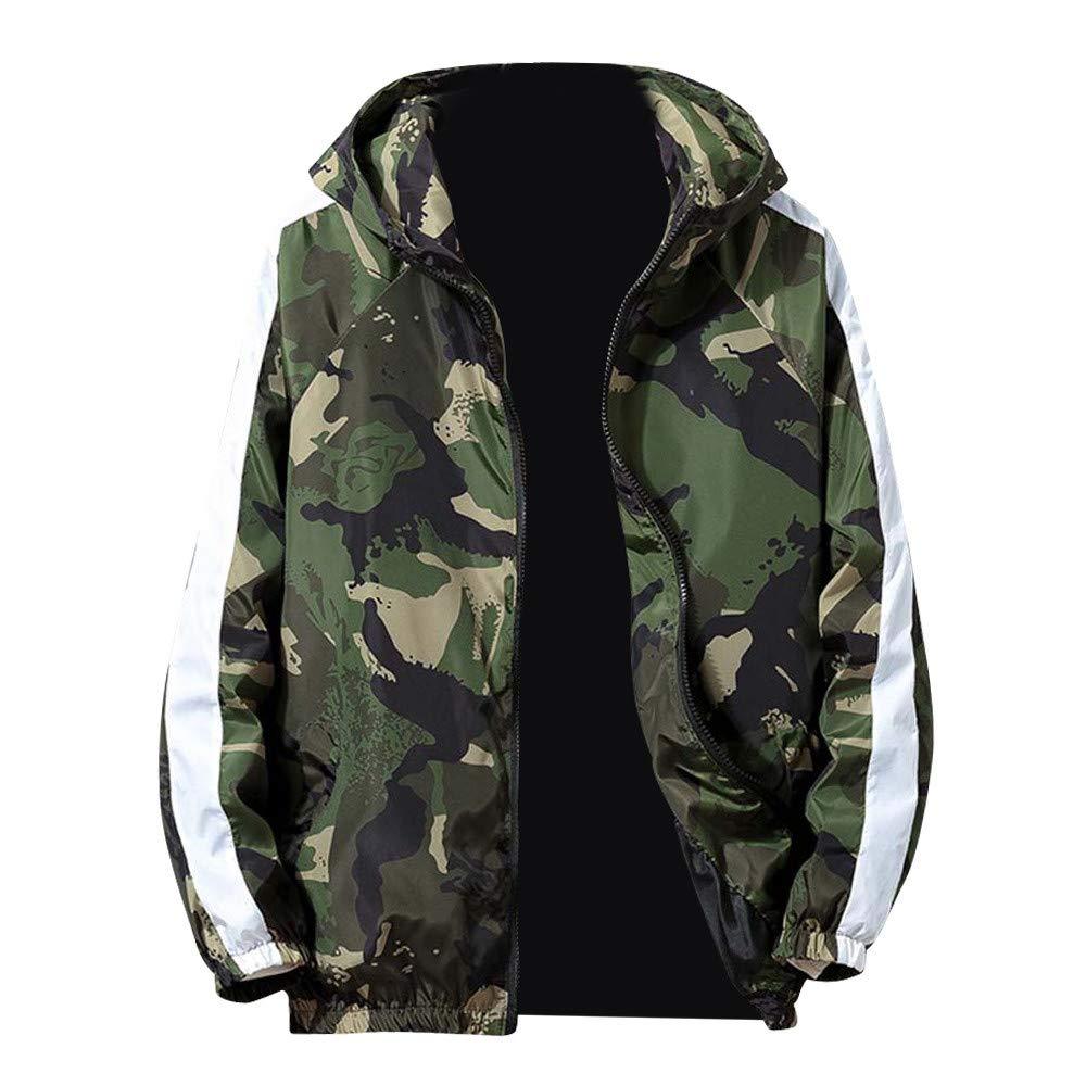 kaifongfu Mens Camouflage Zip Sport Long Sleeve Jacket Coat(Green,4XL)