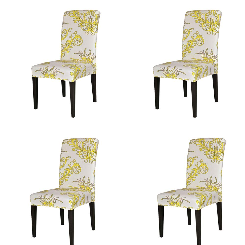 TIKAMI 4PCS Spandex Printed Fit Stretch Dinning Room Chair Slipcovers (4, Yellow)