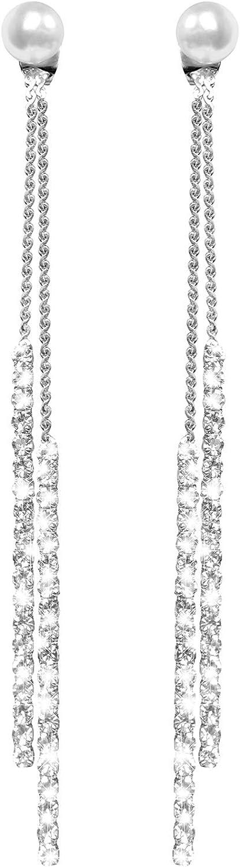 WATACHE Moda Borla Larga Perla de Cristal Dos Maneras de Usar Cubic Zirconia Hipoalergénico y Níquel Free Stud Drop Pendientes Colgantes Joyas para niñas, Mujeres, Plata Elegante