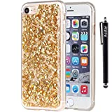 Image of iPhone 7 Case, Asstar Luxury Bling Glitter Sparkle Cover Shinning Protective Flexible Soft Rubber TPU Bumper Case Cover for Apple iPhone 7 (4.7 inch) + Stylus Pen (Gold)