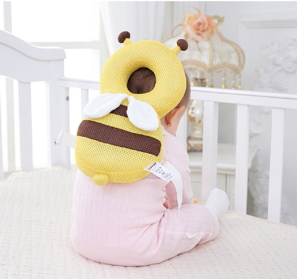 Baby Walker Protective Head Adjustable Baby Safety Mat Protective Head Cute Bee Suitable Age 4-36 Months Yellow Hewnda Baby Head Protector