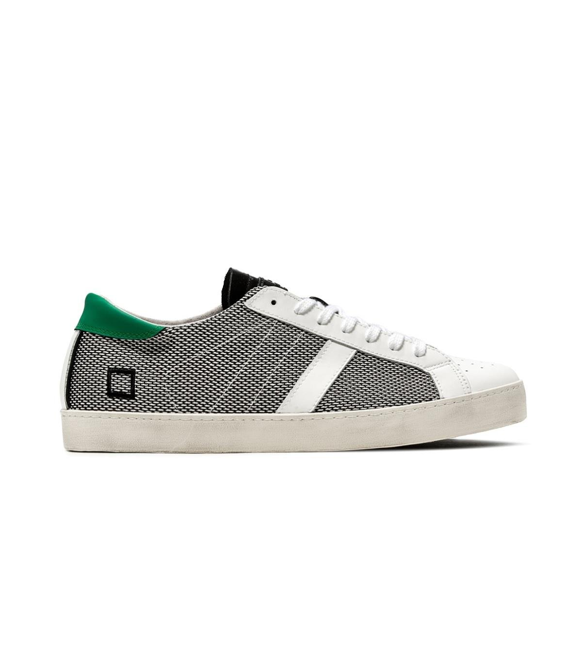 Date Sneaker Hill Low Argegno in Tessuto e Pelle Bianca e Nera  44 EU|Schwarz