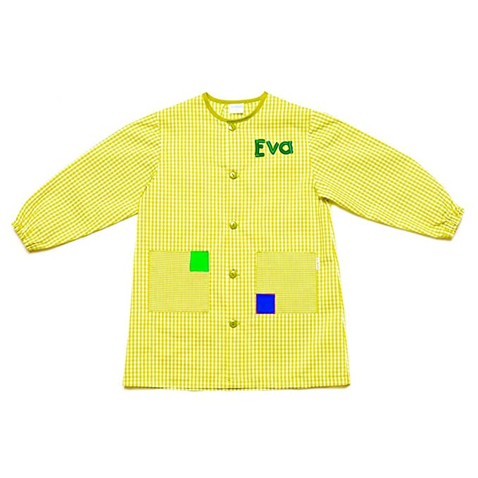 Dyneke Bata escolar botón Clásica amarillo (personalización opcional gratuita con nombre bordado) (Talla 4): Amazon.es: Ropa y accesorios