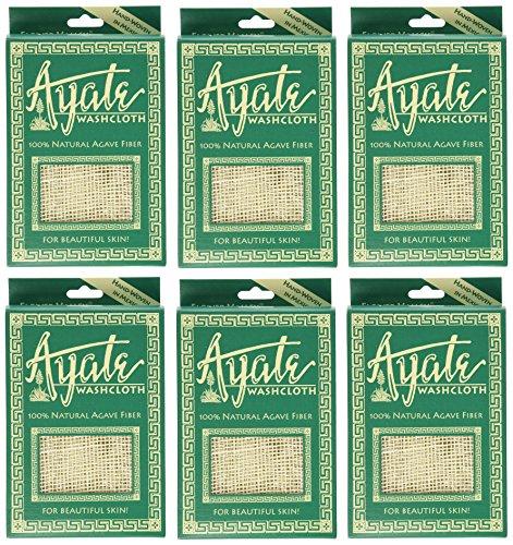 (Ayate Washcloth, 100% Natural Agave Fiber, 1 washcloth (Pack of 6))