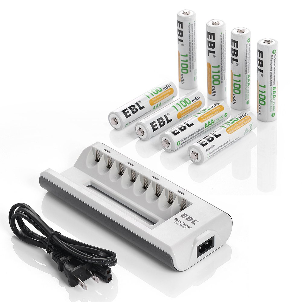 EBL 8 Bay AA AAA Battery Charger with AA 2800mAh (4 Pack) and AAA 1100mAh (4 Pack) Ni-MH Rechargeable Batteries FBA_EBL-808-AA-AAA
