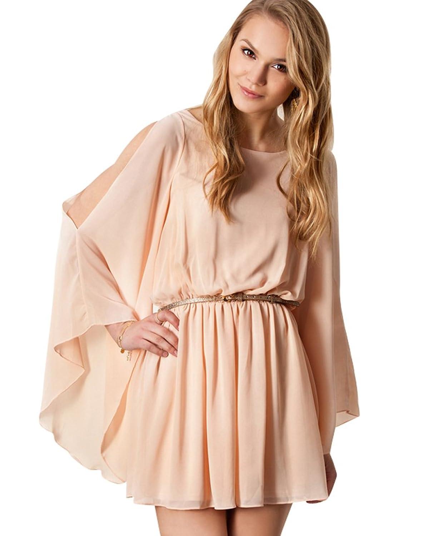Purpura Erizo Womens Pink Cold Shouler Swing Chiffon Dress