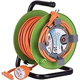 Electraline 20866138F Rallonge Prolongateur Jardín 25 m avec enrouleur 16A - Section 2x1,5 mm² Orange/Vert