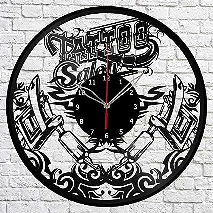 Amazon.com: Tattoo Shop Vinyl Record Wall Clock Fan Art Handmade ...