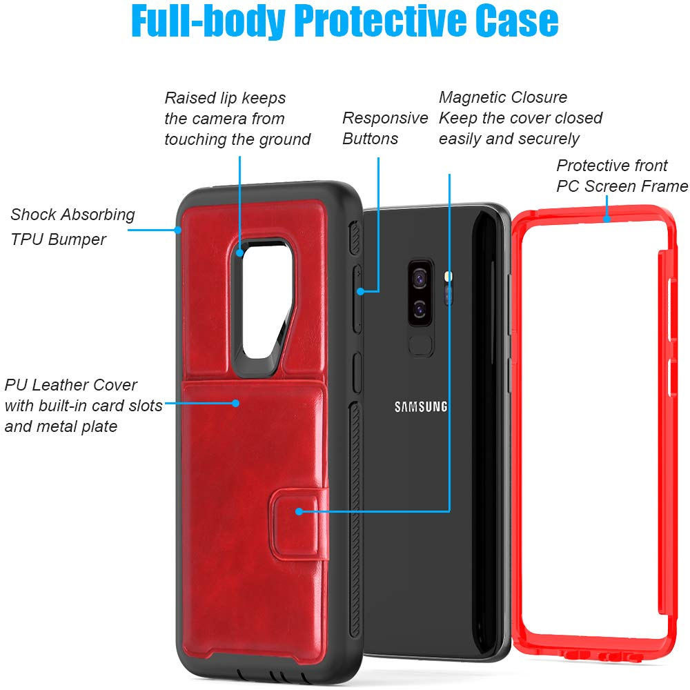 SXcase Samsung Galaxy S9 Plus Case with Card Holder,Leather Soft Shockproof Protective Case for Samsung Galaxy S9+(6.2 inch)[Red]