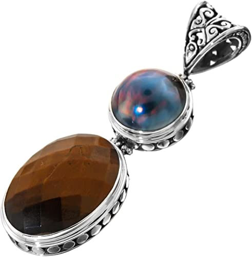 2 7//16 Blue Mabe Cultured Pearl Tiger Eye Bali Handmade Scroll 925 Sterling Silver Pendant