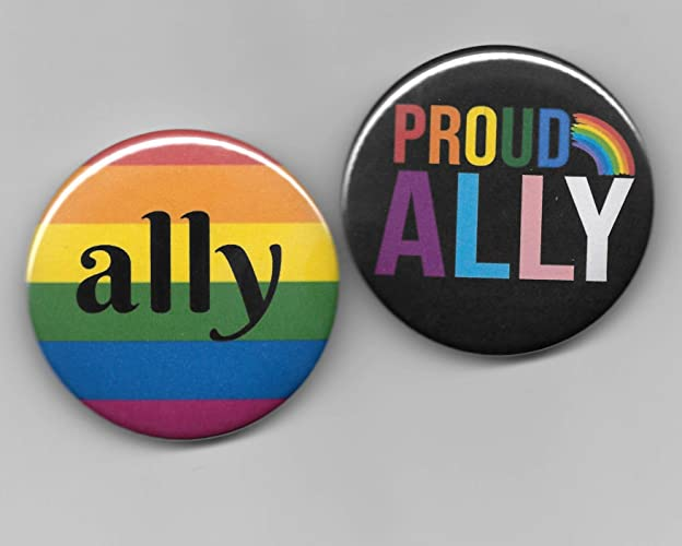 b58df3f5 Gay Pride Ally Pin Back Buttons Set of 2, 2-1/4