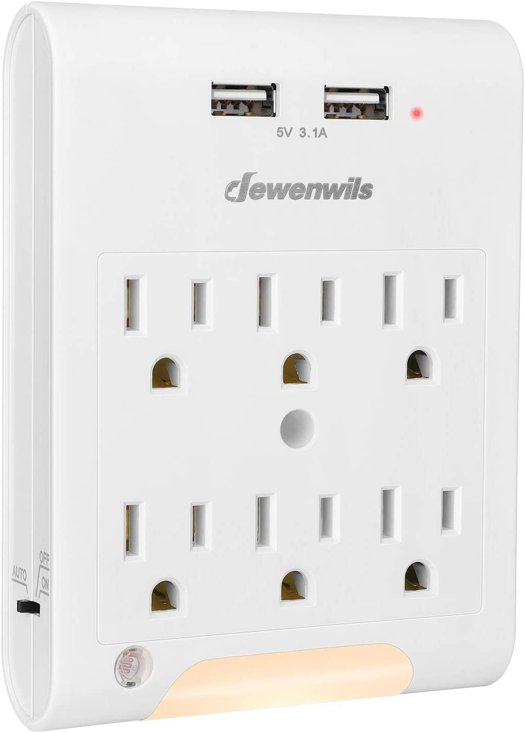 DEWENWILS Multi Outlet Adapter with 2 USB Charging Ports (3.1A total), Light Sensor LED Night Light, 6 Outlets Wall Plug Extender for Travel, Home, 1080Joules Surge Protector, ETL Listed, White