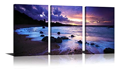 YPY Purple Wall Art for Home Decor Sunset Modern Oil Painting Seascape Printed on Canvas Hang in Bedroom Living Room 16x24in
