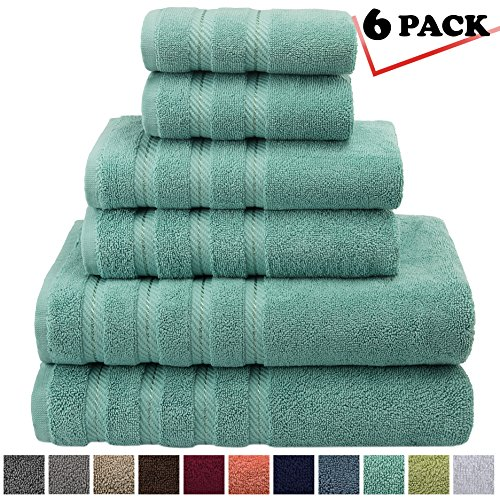 Premium, Luxury Hotel & Spa, 6 Piece Towel Set, Turkish Towels 100% Cotton for Maximum Softness and Absorbency by American Soft Linen, [Worth $78.95] (Aqua Blue)