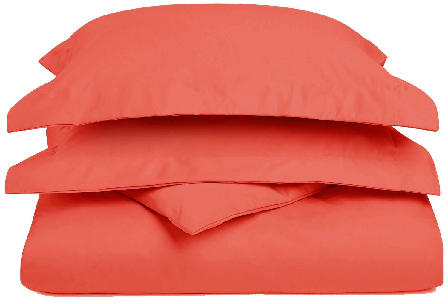 Superior 1200 Thread Count 3 Piece Cotton Blend Solid Duvet Cover, Full/Queen, Coral CR1200FQDC SLCO