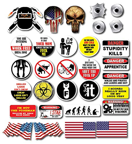 (31 pack of Crude Humor Hilarious WELDER EDITION Hard Hat Prank Decal Joke Sticker Funny Laugh Construction LOL)