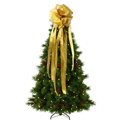 wmbetter christmas tree topper bow yellowwmbetter large diy christmas tree topper with streamer gold edge