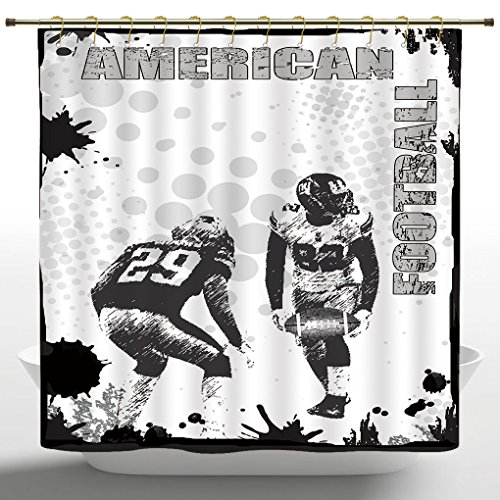 Beautiful Shower Curtain by iPrint,Sports Decor,Grungy Murk American Football Image International Team World Cup Kick Play Speed Victory,Black White,Polyester Fabric Bathroom Shower Curtain Set