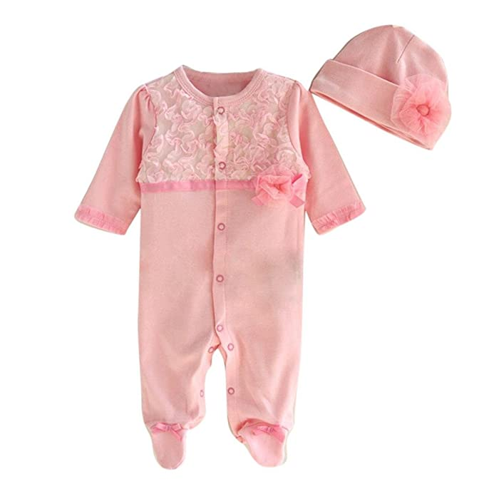 Bekleidung Longra Neugeborenes Baby Jungen M/ädchen M/ütze Hut Spitze Strampler Overall Bodysuit Kleidung Set Outfit 0-9 Monate