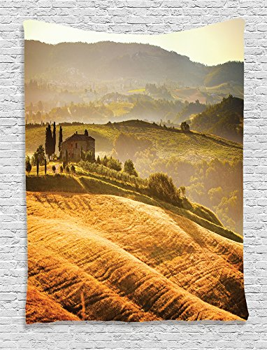 Ambesonne Tuscan Decor Collection, Siena Tuscany Vineyard Retro Farmhouse Cypress Trees and Sunset Picture, Bedroom Living Kids Girls Boys Room Dorm Accessories Wall Hanging Tapestry, Mustard Green
