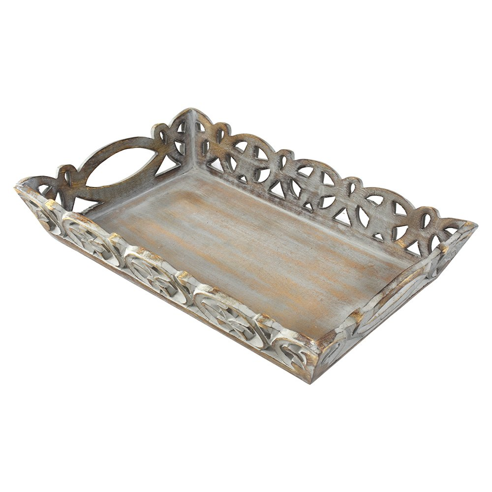 Indian Heritage Wooden Carved Tray in Grey Distress Finish