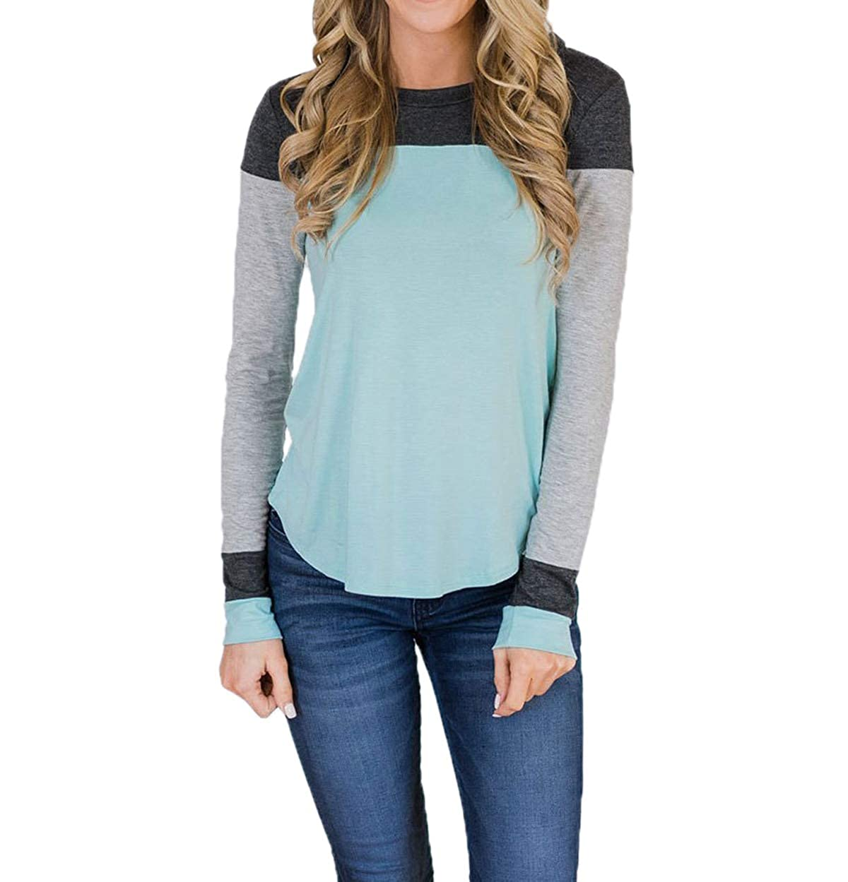 Femmes Hauts Fashion Patchwork T-Shirts Blouse Pulls Sweat-Shirts Col Rond  Tops à Manches Longues Tees Jumpers dbf3a2b725c