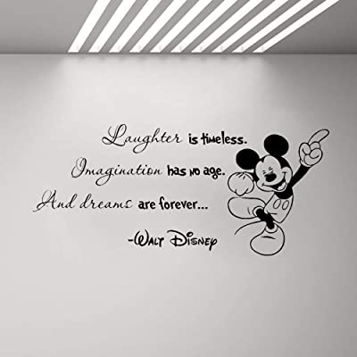 Mickey Mouse Wall Art Decal Sticker Encouraging Words Wall Decal Minnie Mickey Mouse Quote Vinyl Sticker Home Boy Girl Room Poster: Home & Kitchen