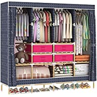 HHAiNi Huge Wooden Portable Closet 4 Rods Bedroom Wardrobe Storage Rack Kit, Long Hanging Space, Free 4 Storage Boxes