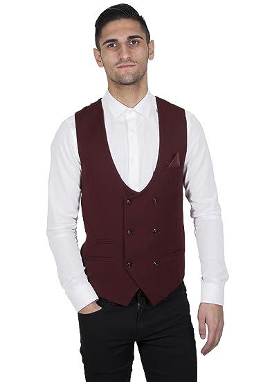 Mens Single Breasted Velvet Waistcoat Marc Darcy Wine Slim Fit Jacquard Vest