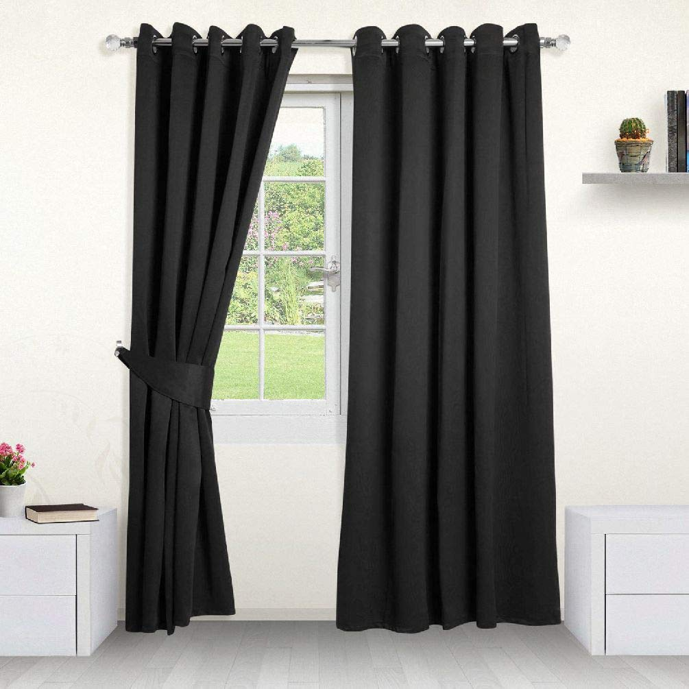 Likimen Home Thermal Blackout Curtains- Ring Top Eyelet Pencil Pleat.All Sizes FREE Tiebacks