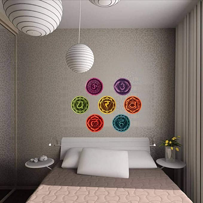 Wsxxnhh Color Mandala Chakras Yoga Meditación Símbolo Arte De La Pared Tatuajes De Sala De Estar Extraíble Wallpaper Home Decor Dormitorio Tatuajes De ...