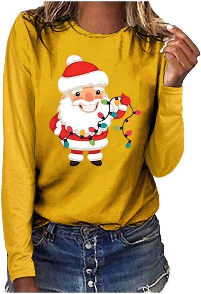 LOPILY Weihnachtspullover Damen Lustig Locker mit Weihnachtsmann Gedruckte Weihnachtsshirts Rundhalsausschnitt Langarmshirts mit Weihnachtsmotiven Norweger Pullover Damen Hoodie