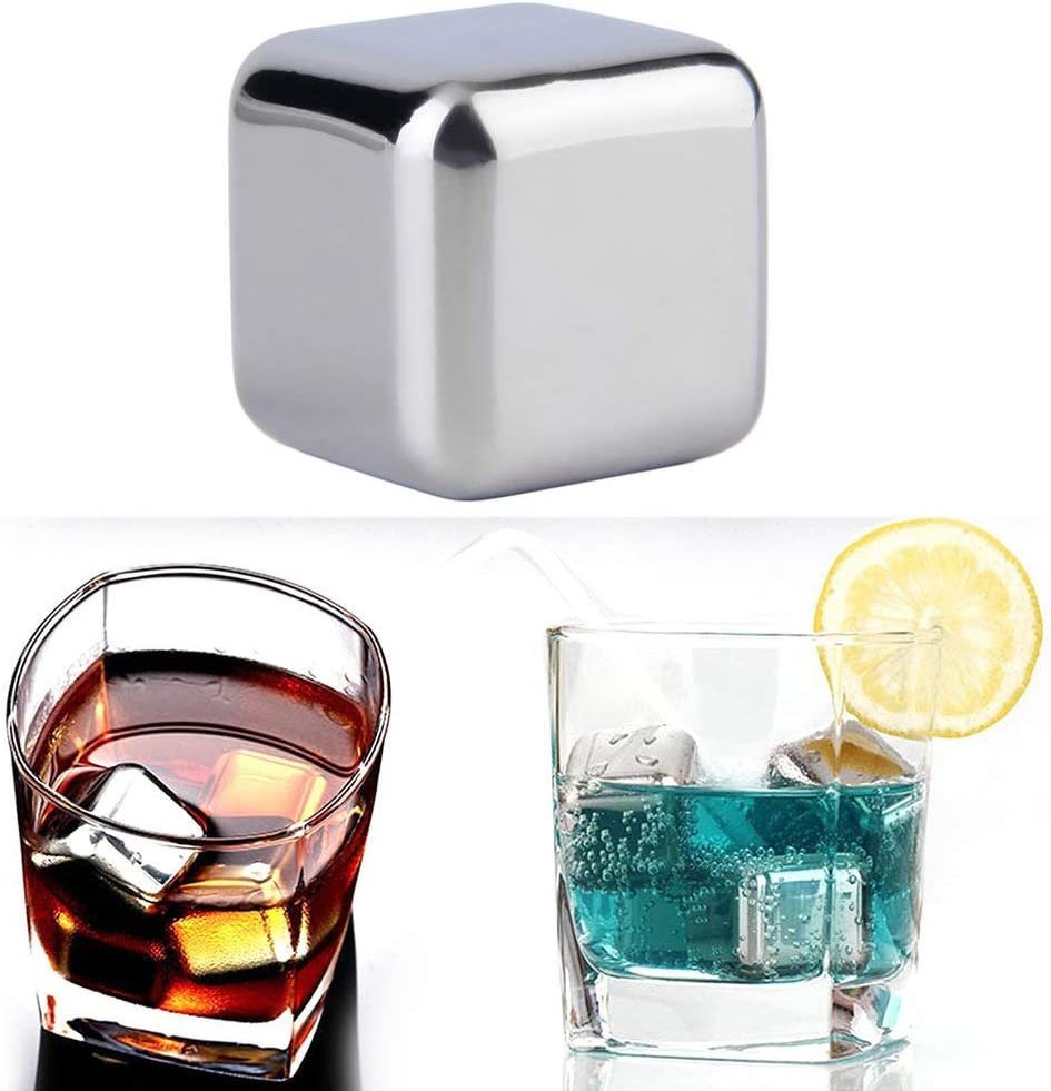 2.5cm 2.5cm Stainless Steel Whiskey Cooler Stones Ice Cubes Chillers Drink Physical Cooling Tools 1CAwindwinevine 1 Pcs Reusable 304 2.5cm