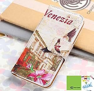 Crazy Panda NEW LG Optimus L70 Wallet Case Cute Colorful Painting Premium Vintage Flip Leather Wallet Card Open Pocket Case Stand Folio Cover Pouch for LG L70 (Venezia)