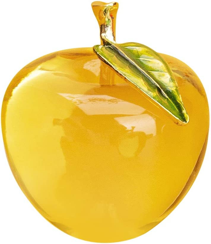 H&D Glaze Crystal Apple Paperweight Craft Decoration (yellow)