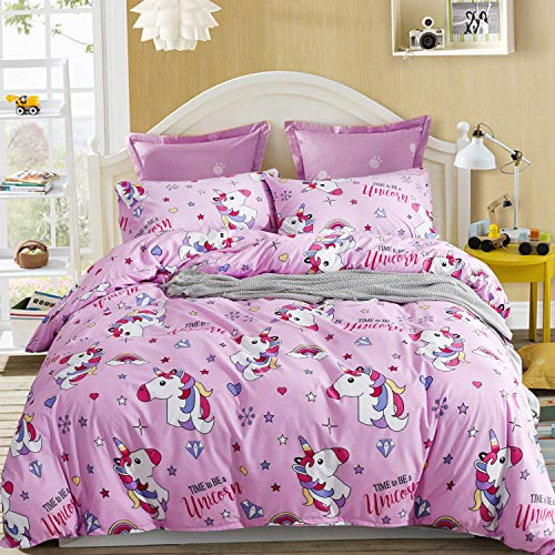 LAMEJOR Duvet Cover Sets Twin Size Cartoon Unicorn Pattern Bedding Set Comforter Cover Pink(1 Duvet Cover+2 Pillowcases)