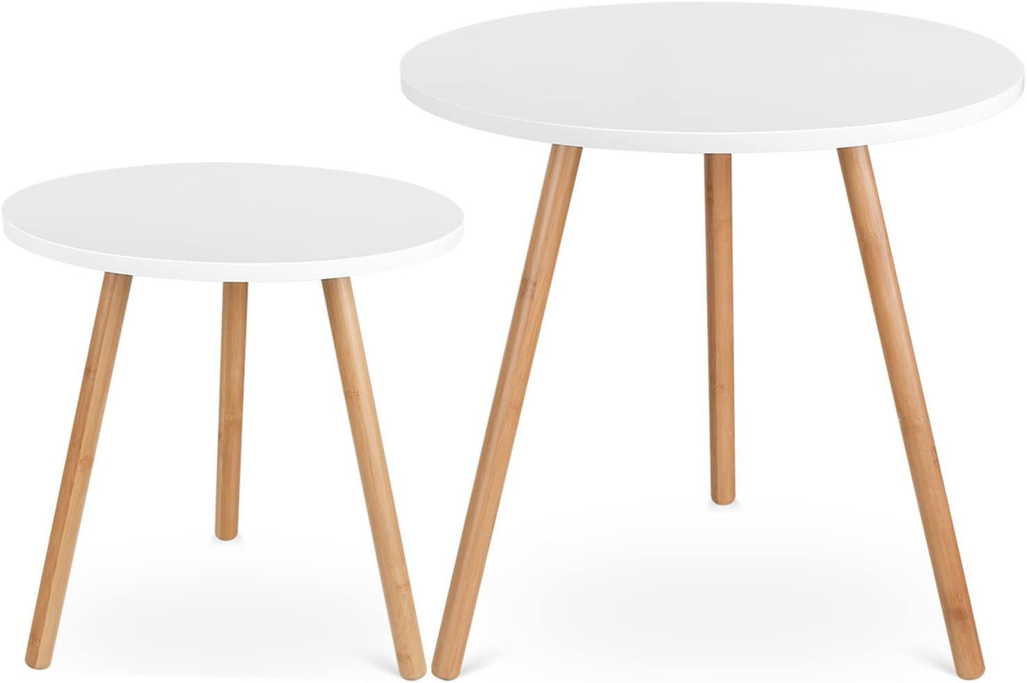 - Homfa Coffee Tables Bedside Table Set Of 2 Round Side Tables For
