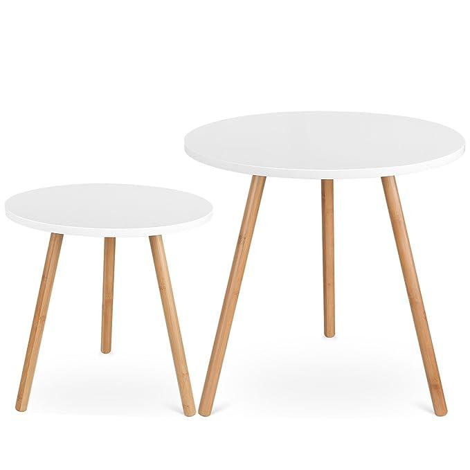 4 opinioni per Homfa Tavolino Divano di caffè in MDF Bianco, Set di 2 Tavolini Bassi da Salotto