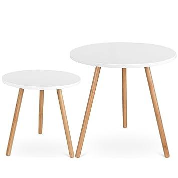 Homfa 2x Beistelltisch Weiss Set Couchtisch Rund Wohnzimmertisch Holz