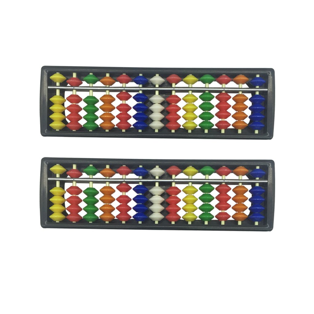 HYHP 2 Pieces Plastic Abacus, Arithmetic Soroban Kids Calculating Tool (13 Digits Rod with 7 Colors Beads)