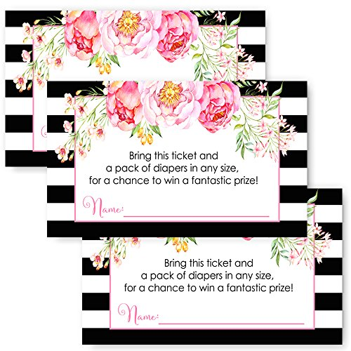Girls Baby Shower Diaper Raffle Insert Cards Set of 25 - Black Stripe and Floral (Mod Invite)