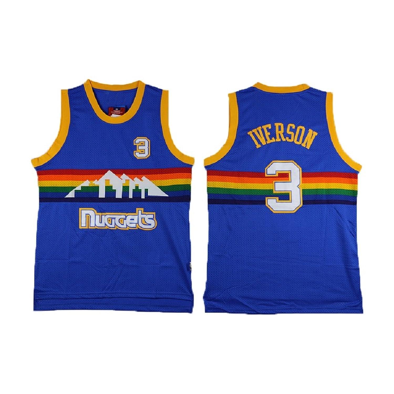 factory price 44815 b490a Allen Jerseys Denver 3 Iverson Jersey Men's Blue ...
