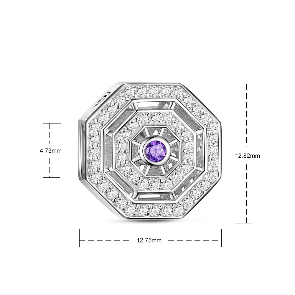 TINYSAND Clear White and Amethyst Magic Charm 925 Sterling Silver Charms for European Charms Bracelet