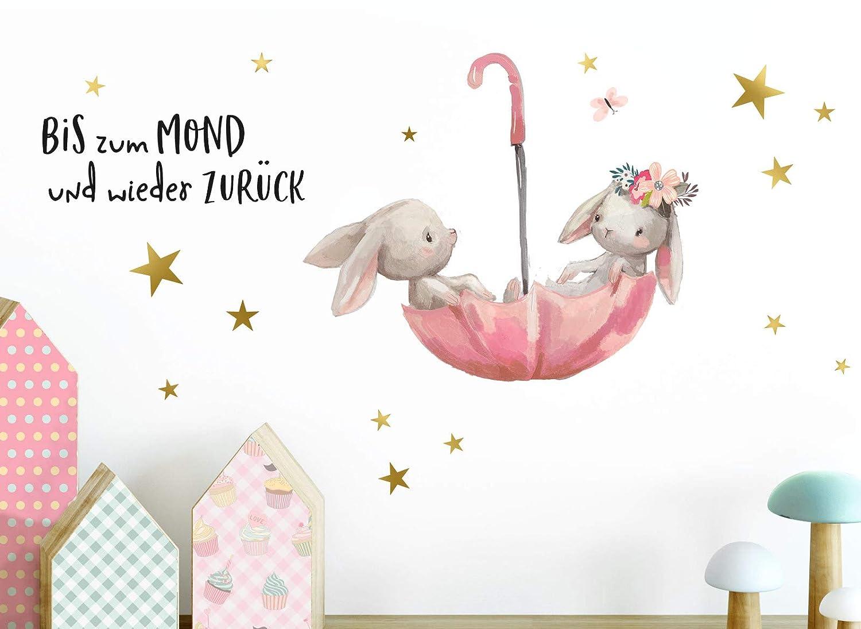 Little Deco Wandtattoo Babyzimmer Hasen Spruch Bis Zum Mond I A4