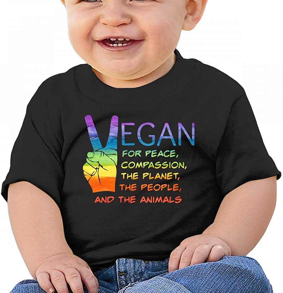 Rainbow Vegan People Healthy Baby Boys Toddler Short Sleeve T-Shirts Tees