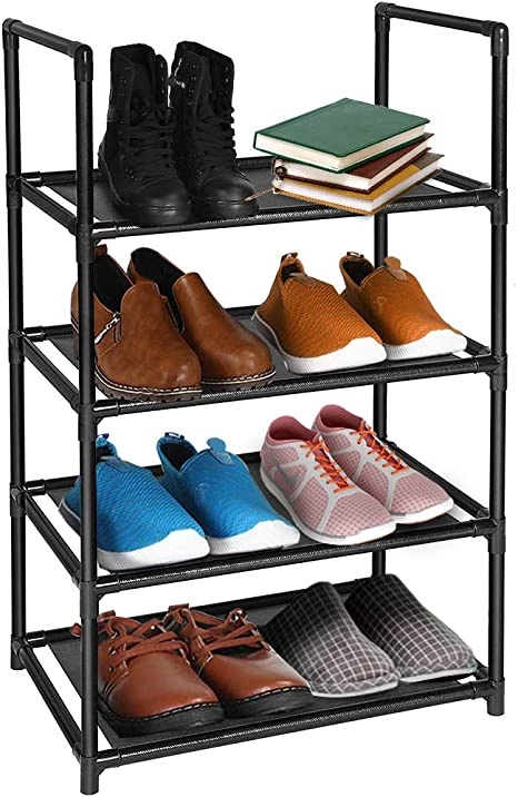 4 Tier Shoe Rack 8 10 Pairs Sturdy Lightweight Shoe Tower Organizer Design For Small Space Free Standing Shoe Shelf In Closet Entryway Hallway Living Room Home Kitchen