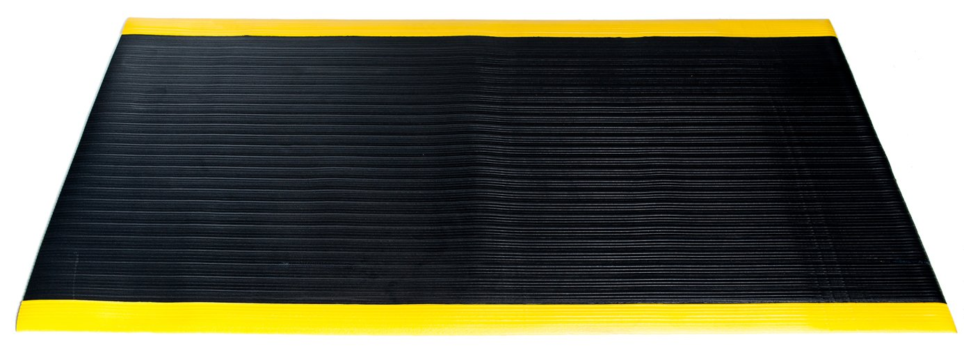 Bertech Anti Fatigue Vinyl Foam Floor Mat, 3' Wide x 12' Long x 3/8'' Thick, Ribbed Pattern, Black w/Yellow Border, Bevelled on All Four Sides (Made in USA)