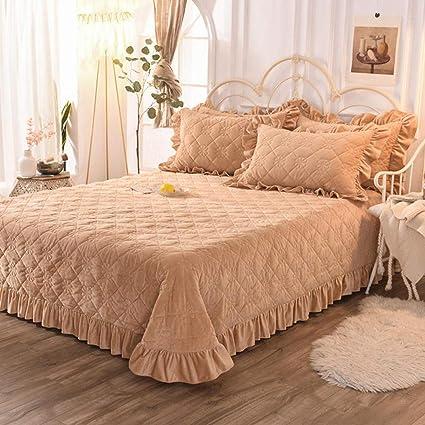 Copriletto Matrimoniale Invernale Cotone Trapunte Matrimoniali Eleganti Coperta 3 Pezzi Completo Trapunta,Brown-230X240CM