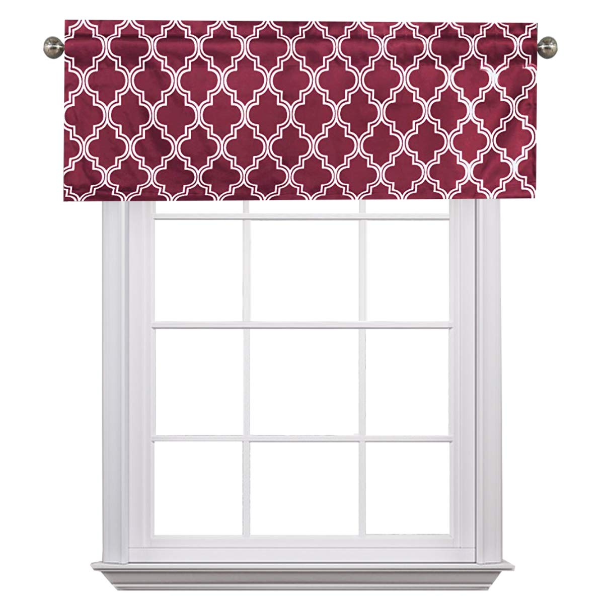 Flamingo P Ikat Fret Dove 2 Pack Valance Curtain for Kitchen Living Dining Room Bathroom Kids Girl Baby Nursery Bedroom 52 X18