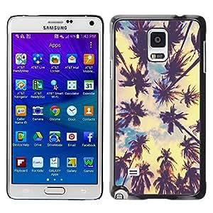 Miami La tropical de las palmeras de Verano - Metal de aluminio y de plástico duro Caja del teléfono - Negro - Samsung Galaxy Note 4